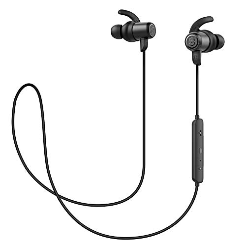 SoundPEATS Magnetic Wireless Earbuds Bluetooth Headphones Sport in-Ear Sweatproof Earphones with Mic (High Fidelity Sound, IPX6, Bluetooth 4.1, aptx, 8 Hours Play Time, Secure Fit Design) (New Black)