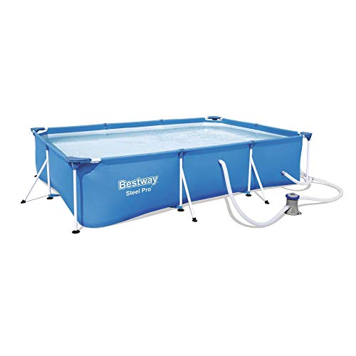 Bestway 56412E Steel Pro 9.8ft x 6.6ft x 26in Outdoor Rectangular Frame Above Ground Swimming Pool Set with 330 GPH Filter Pump and Repair Patch, Blue