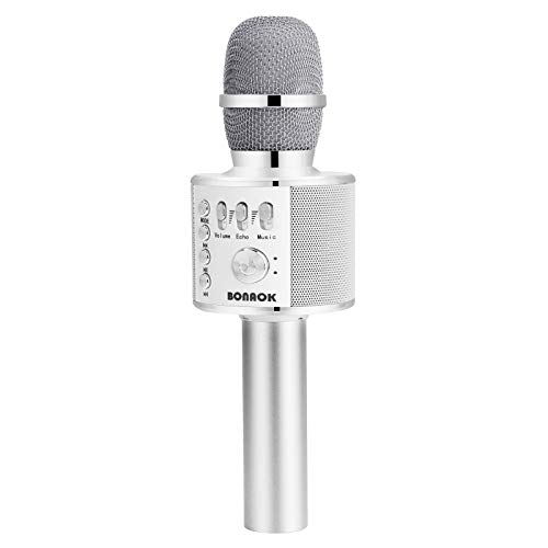 BONAOK Wireless Bluetooth Karaoke Microphone,3-in-1 Portable Handheld Karaoke Mic Speaker Machine Home Party Birthday for All Smartphones PC(Q37 Silver)