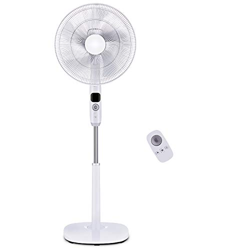 PELONIS FS40-16CR Oscillating Pedestal, Turbo Silence Stand Fan 16', Powerful and Quiet Speed, 12 Hour On/Off Timer, 3 Modes, Remote Control, Dc