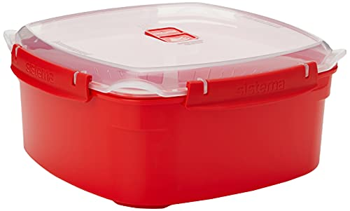 Sistema Microwave Collection Steamer, Large, 13.6 Cup, Red, BPA Free Cook and Serve Container