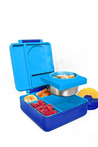 OmieBox Bento Box for Kids - Insulated Bento Lunch Box with Leak Proof Thermos Food Jar - 3 Compartments, Two Temperature Zones - (Blue Sky/Pink Berry) (2 Pack)