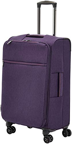 Amazon Basics Belltown, Softside Expandable Luggage Spinner Suitcase with Wheels, 26 Inch, Purple