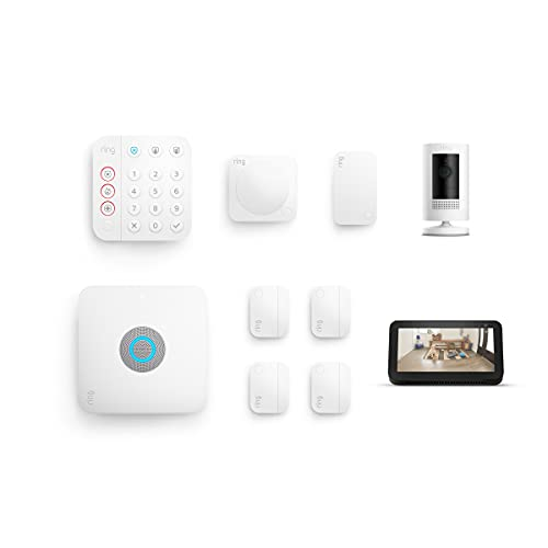 Introducing Ring Alarm Pro 8-piece kit with Ring Stick Up Cam Battery (White) and Echo Show 5 (2021 release, Charcoal)
