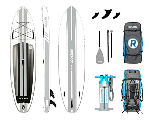 iROCKER All-Around Inflatable Stand Up Paddle Board 11' Long 32' Wide 6' Thick SUP Package | White - 2019