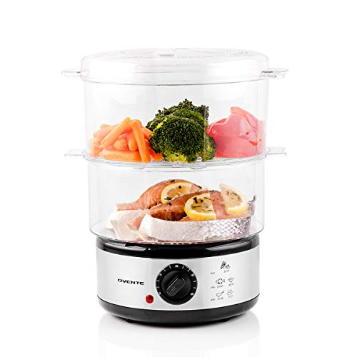 Ovente Electric Food Steamer 7.5 Quart with 3 Tier Stackable Portable BPA-Free Baskets for Cooking Vegetable and Fish, 400 Watt Power Countertop Steamer Fast Steaming with 60-Minute Timer, White FS53W