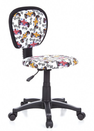 hjh OFFICE, 670167, Childrens Desk Chair, swivel chair, computer chair kids room, KIDDY TOP, Motif, mesh fabric, for children, ergonomic back, height adjustable, office task study chair,  home stool, armless, with soft-bottom rollers