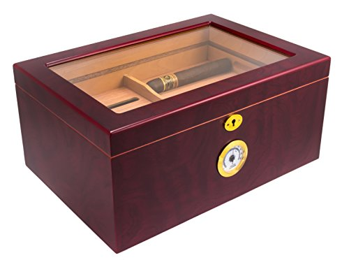Mantello Large Glass-Top Cigar Humidor Humidifier Box with Hygrometer and Cedar Tray - Holds (50-100 Cigars)