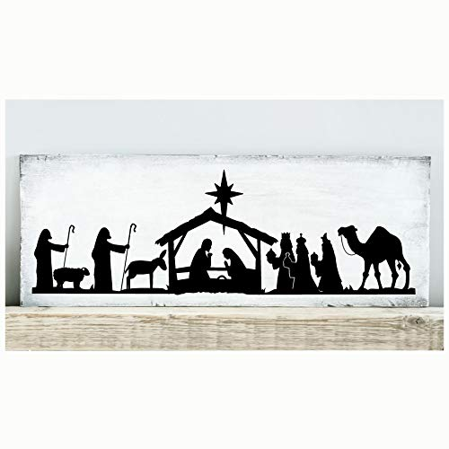 Nativity Scene Vinyl Lettering Wall Decal Sticker (6'H x 18.5'L, Black)