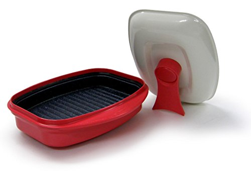 Microhearth Grill Pan for Microwave Cooking, Red