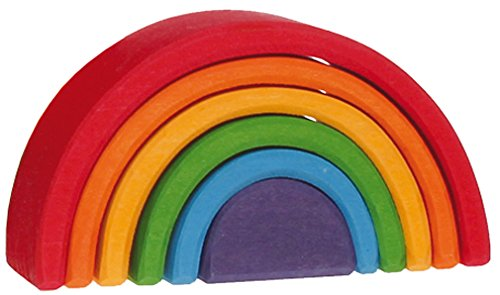 Grimm's Small (Mini) 6-Piece Rainbow Nesting Wooden Blocks Stacker, 'Elements' of Nature: AIR