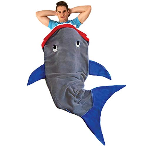 Blankie Tails | Shark Blanket, New Shark Tail Double Sided Super Soft and Cozy Minky Fleece Blanket, Machine Washable Wearable Blanket (70'' H x 27'' (Adults/Teens Ages 12+), Gray & Blue)
