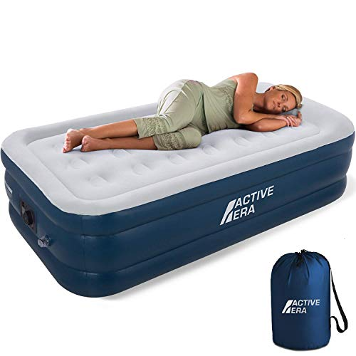 Active Era Premium Twin Air Mattress (Single) with Built-in Pump and Raised Pillow - Elevated Inflatable Airbed 75' x 39' x 18' - Puncture Resistant Airbed with Waterproof Flocked Top