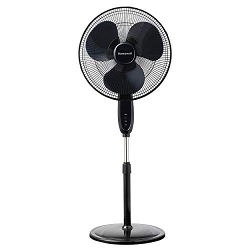 Honeywell Double Blade 16 Pedestal Fan Black With Remote Control, Oscillation, Auto-Off & 3 Power Settings