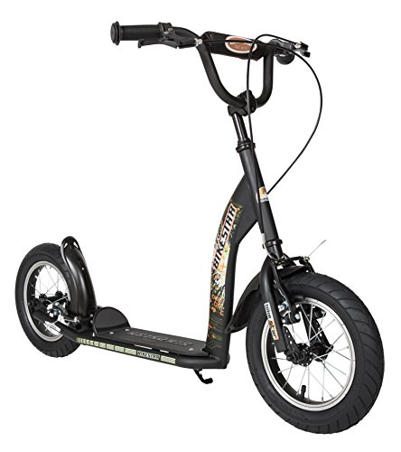 BIKESTAR Kick Scooter with Brakes, Mudguard and air Tires for Kids 7 Year Old   Sport Edition with Alloy Wheels 12 Inch   Black (matt)