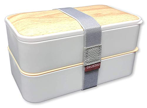THE ORIGINAL Japanese Bento Box (Upgraded 2020 Elegant White) w/ 2 Dividers + Larger Utensils w/Holder - Leakproof Lunch Container