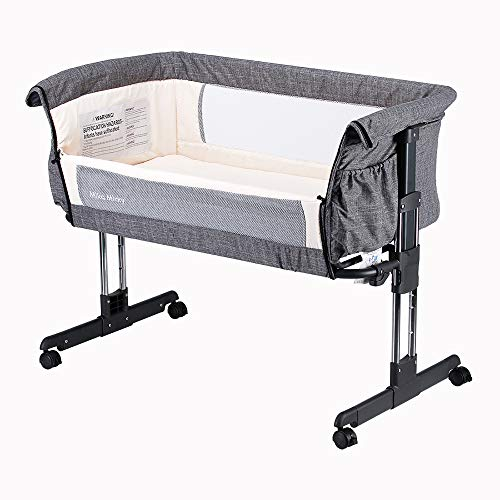 Mika Micky Bedside Sleeper Bedside Crib Easy Folding Portable Crib,Grey
