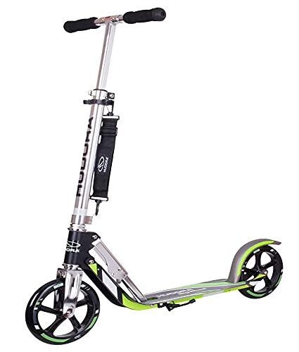 Scooter for Adults - HUDORA Foldable Adult Kick Scooters with Big Wheel 5 Level Height Adjustable Lightweight Aluminum Frame Scooter Supports 250 Lbs Fold Up Commuter Scooter for Teens 8-12