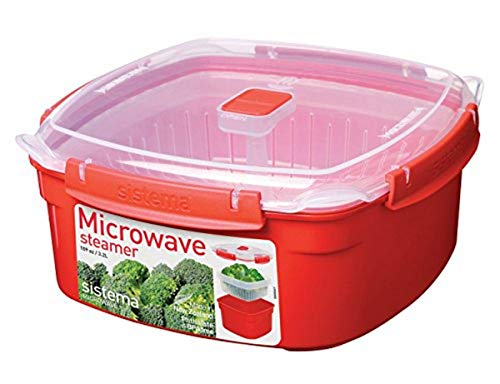 Sistema Microwave Collection Steamer, Large, 13.6 Cup, Red | BPA Free Cook and Serve Container