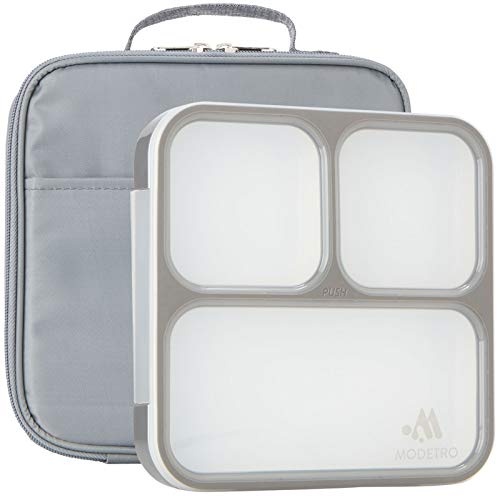 Modetro Ultra Slim Leak Proof Bento Box Lunchbox with 3 Portion Control Compartments and Matching Insulated Lunch Bag