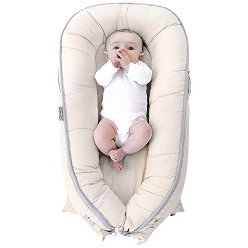 LaLaMe 100% Organic and Water Resistant Cotton Newborn Lounger | Baby Lounger Pillow | Infant Lounger | Baby Nest | for Infants, Newborns 0-12 Month | for Girls and Boys | (Beige)