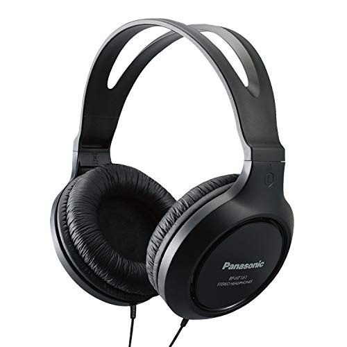 Panasonic Full-Sized, Lightweight Long-Cord Headphones – RP-HT161-K (Black)