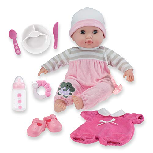 15' Realistic Soft Body Baby Doll with Open/Close Eyes | JC Toys - Berenguer Boutique | 10 Piece Gift Set with Bottle, Rattle, Pacifier & Accessories | Pink | Ages 2+