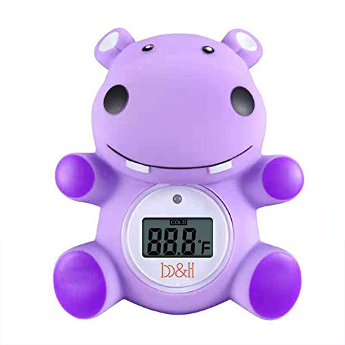 B&H Baby Thermometer, The Infant Baby Bath Floating Toy Safety Temperature Thermometer (Hippo)