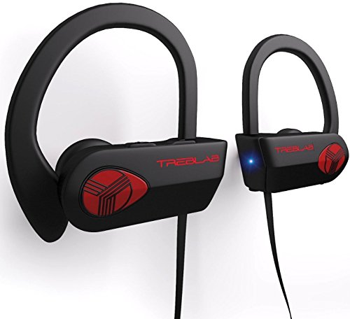 TREBLAB XR500 - Ultimate Cordless Bluetooth Running Headphones. Best Sport Wireless Earbuds for Gym. Noise Canceling Secure-Fit IPX7 Wireless Waterproof Headphones. Workout Earphones with Mic
