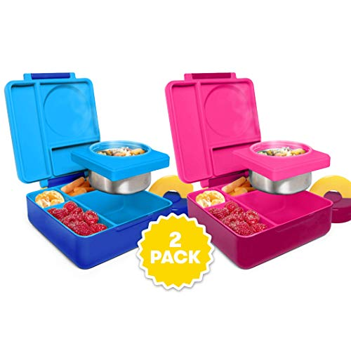 OmieBox Bento Box for Kids - Insulated Bento Lunch Box with Leak Proof Thermos Food Jar - 3 Compartments, Two Temperature Zones (Blue Sky/Pink Berry 2 Pack)