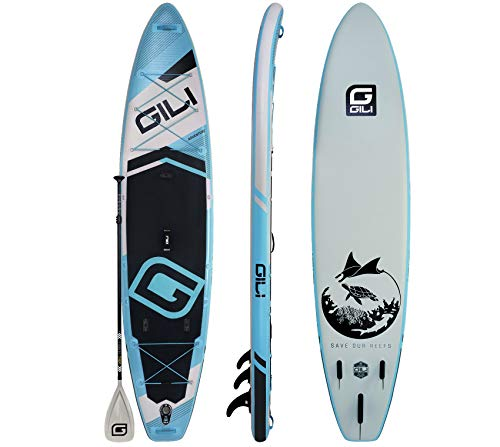 GILI Adventure Inflatable Stand Up Paddle Board: Lightweight, Durable Touring SUP: Wide & Stable Stance 11' x 32' x 6' Thick (Blue)