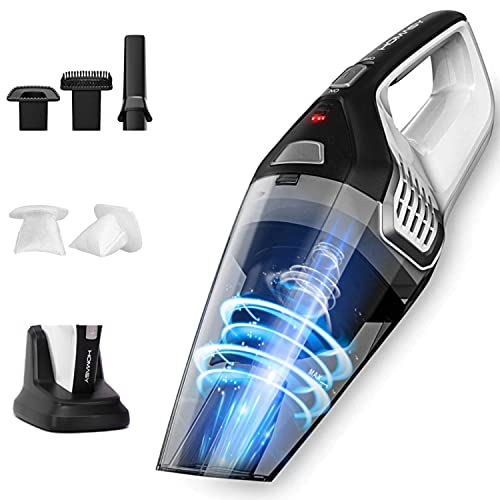 Homasy Handheld Vacuum Cordless, 8Kpa Hand Vacuum with Powerful Cyclonic Suction, Portable Vacuum Cleaner with Long Lasting up to 30mins (Wet&Dry, 3H Charging) for Pet Hair, Dust,Gravel,Home Cleaning