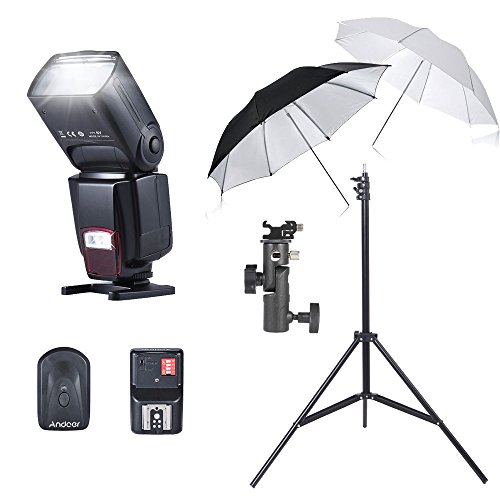 Andoer Flash Reflective Umbrellas Kit AD-560II On-Camera Flash 16 Channels Remote Flash Trigger 33'/84cm White Soft/Silver Reflective 2m/6.56ft Studio Light Stand E Type Bracket Holder