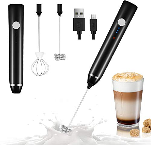 Milk Frother, Dallfoll Coffee Frother Electric Whisk, Handheld Milk Frothers USB Rechargeable, 3 Gear Adjustable Milk Bubbler for Latte, Cappuccino, Hot Chocolate, Egg Beating (New Version Black)