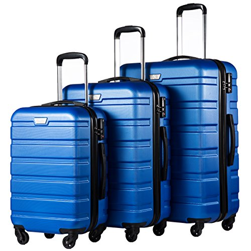 COOLIFE Luggage 3 Piece Set Suitcase Spinner Hardshell Lightweight TSA Lock (blue)