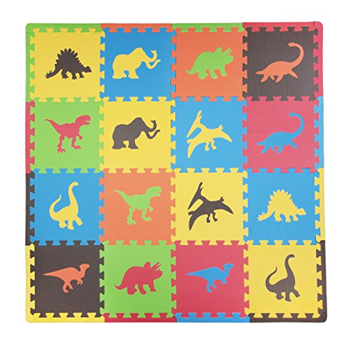 Tadpoles Baby Play Mat, Kid's Puzzle Exercise Play Mat – Soft EVA Foam Interlocking Floor Tiles, Cushioned Children's Play Mat, 16pc, Dino, Multi/Primary, 50x50