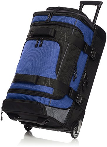 Amazon Basics Ripstop Rolling Travel Luggage Duffle Bag With Wheels - 32 Inch, Blue