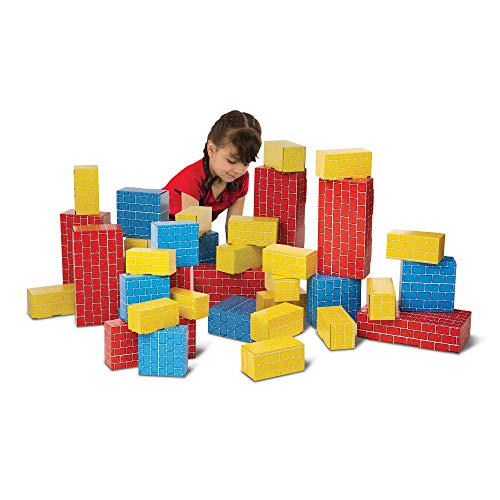 Melissa & Doug Deluxe Jumbo Cardboard Blocks (Developmental Toy, 40 Pieces, 12.5″ H × 7″ W × 19″ L, Great Gift for Girls and Boys - Best for 2, 3, 4, and 5 Year Olds)