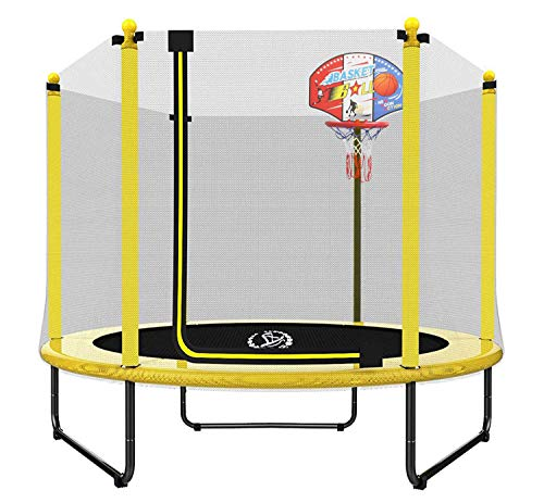 LANGXUN 60' Trampoline for Kids - 5ft Outdoor & Indoor Mini Toddler Trampoline with Enclosure, Basketball Hoop, Birthday Gifts for Kids, Gifts for Boy and Girl, Baby Toddler Trampoline Toys, Age 1-7