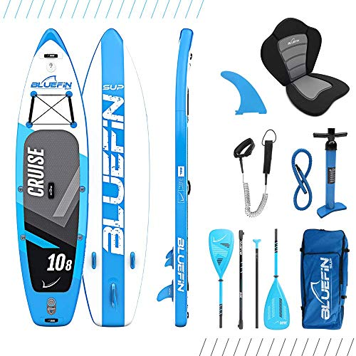 Bluefin SUP Stand Up Inflatable Paddle Board with Kayak Conversion Kit | Ultimate iSUP Kayak Bundle (Blue 10'8')