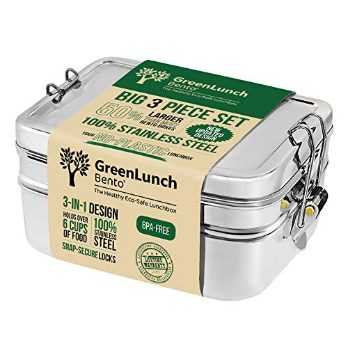 3-in-1 Stainless Steel Bento Box For Kids & Adults with Snack Pod - Holds 6 Cups of Food, 100% Crack-Resistant, Secure Locks, Eco-friendly Metal Lunch Container