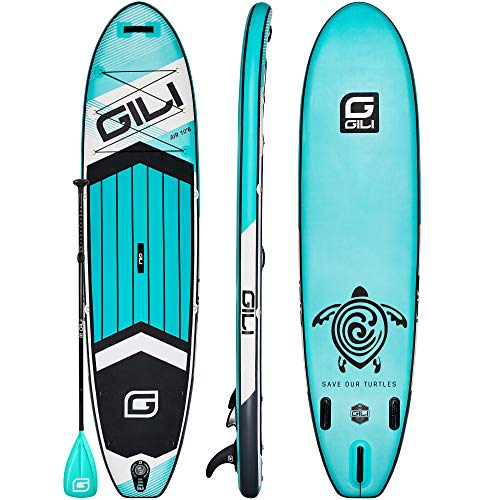 GILI All Around Inflatable Stand Up Paddle Board Package | 10'6 Long x 31' Wide x 6' Thick | Lightweight & Durable SUP | Stable & Wide Stance (Teal)