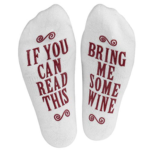 "Haute Soiree - Women's Novelty Socks - ""If You Can Read This, Bring Me Some"" Socks (Burgundy)"