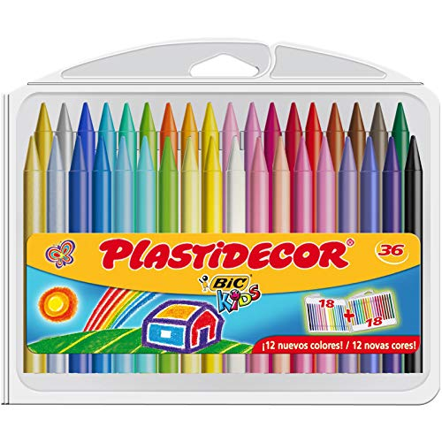 Bic Plastidecor Assorted Colored Crayons (Pack of 36)