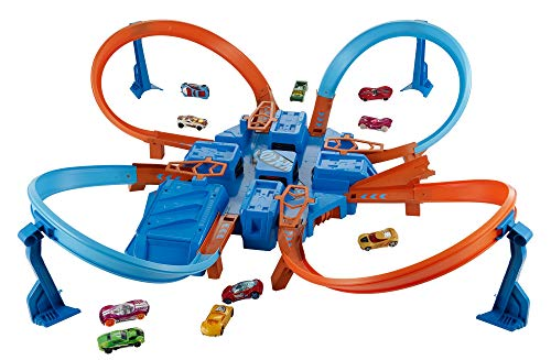 Hot Wheels Criss Cross Crash Motorized Track Set, 4 High Speed Crash Zones, 4-Way Booster, 4 Loops, Includes 1 DieCast Vehicle, Ages 4 to 10 Years Old​