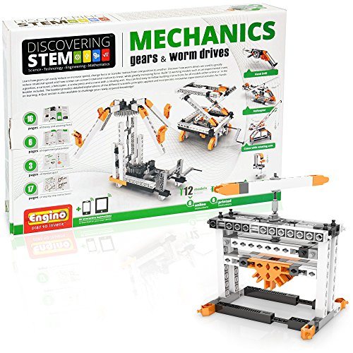 Engino Discovering STEM Mechanics Gears & Worm Drives | 12 Working Models | Illustrated Instruction Manual | Theory & Facts | Experimental Activities | STEM Construction Kit